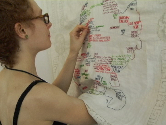 Embroidering my Brooklyn Love Map on site at the Dumbo Arts Festival, 2011.