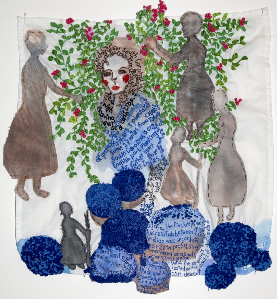 Indigo Trade. 2016. Paint and embroidery, applique and stuffing on fabric.
