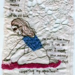 "Love Carpet, Love Stains. 2009. Embroidery on fabric (antique lace). In the collection of Muriel Guepin. 5"" X 8"""