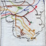 "Brooklyn's veins and arteries: get there from here. 2010. Embroidery on fabric. 7.75"" X 9.5"""