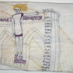 """Come to Brooklyn. 2010. Embroidery on fabric. 7"""" X 12"""""""
