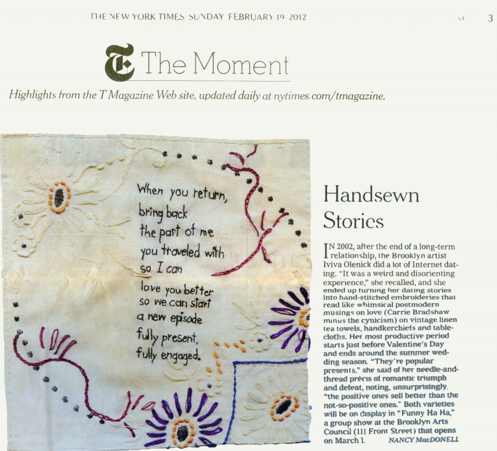 Nancy MacDonell's review of my work in the New York Times Style Section, 2/19/12