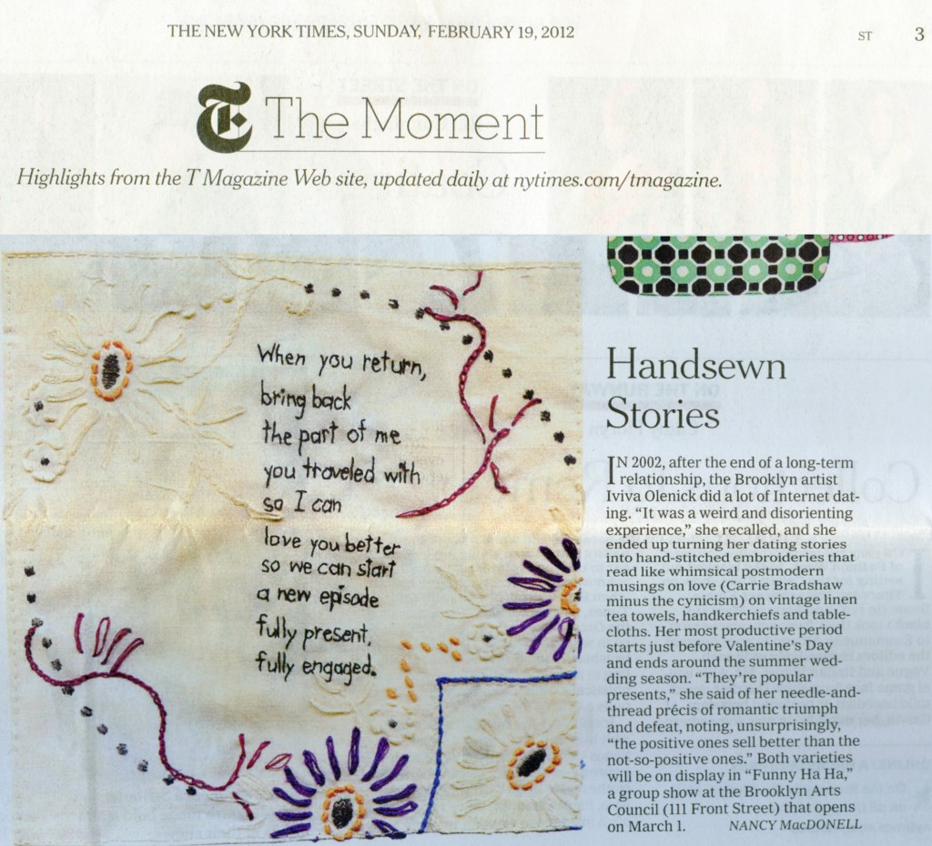 Article by Nancy MacDonnell appeared in the Style Section of the Sunday New York Times, February 19, 2012