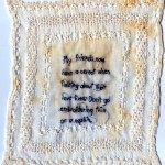 Napkin, embroidery on antique textile, 2012, 7.5x7.5""