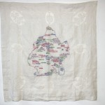 "Brooklyn Love Map. Embroidery on antique textile. 42x42"". 2011. $3000. Part of the BAC-sponsored Brooklyn Love Exchange."