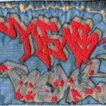 """Hens Rene."" 2011. Embroidery on inkjet print of graffiti (markers on paper by Jon Baker). 7.5x9.75"". $800."