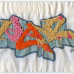 """Henz."" 2011. Embroidery on inkjet print of graffiti (markers on paper). 6.5x9"". $700."