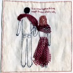 """Woven Together."" Embroidery and appliqué. 2012. 6.74x5x.05"". $500."