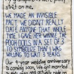 """Invisible Pact in Vinegar Hill."" 2011. Part of the Brooklyn Love Exchange. Embroidery on fabric.  6x 4.5"". In a private collection. I had the pleasure of interviewing this couple at the 2011 Dumbo Arts Festival. Their moving story, which started in junior high school, was one of my favorites."