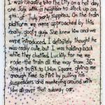 "Suspenders. 2011. Part of the BAC-sponsored Brooklyn Love Exchange. 6.5x5.5"". $350."
