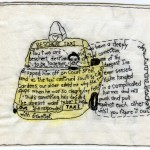 """Beschert Taxi."" Embroidery and watercolor on fabric. 2011. Part of the Brooklyn Love Exchange. 6.25x7"". In the collection of Leslie Rummel."