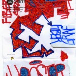 """FiberGraf Henster."" 2010. Embroidery and markers on paper. 8.5x4.5"". $500."