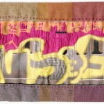"""Hensoe."" First FiberGraf piece Jon and I made. 2008. Embroidery on inkjet print of digital graffiti. 10x3.5"". $500."