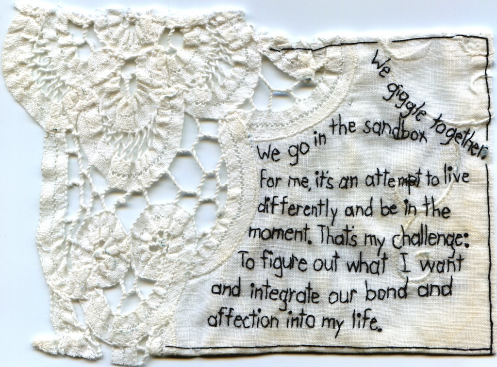 """We giggle together in Carroll Gardens."" 2011. Part of the Brooklyn Love Exchange. Embroidery on antique fabric. 6.8 x 5"". In a private collection."
