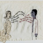 """I will always love you."" Embroidery on fabric with appliqué. Custom."