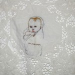 """Ada Isabel Schwartz."" Embroidery on antique lace fabric. 2009. 9x9"". Custom."