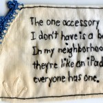 """Accessory."" Embroidery on antique textile. 2012."