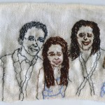 """Wolff-Schneiderman Family Portrait."" Embroidery on fabric. 2012. 4.5 x 7.5""."