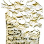 """We Dance So Well Together in My Dreams."" Embroidery on antique textile. 2012. 4.25"" x 3"". $180."