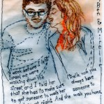 """Ben and Mirelle."" 2012. Embroidery and watercolor wax pastels on fabric. In the collection of Ben and Mirelle Moscovitch. 7"" x 4.75""."