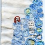"""Submerged."" 2012. Embroidery and appliqué with watercolor-painted fabric. 