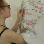 """Embroidering """"Brooklyn Love Map"""" on-site during the 2011 Dumbo Arts Festival. Thanks to the many visitors who shared their Brooklyn love stories. It was a great time!"""