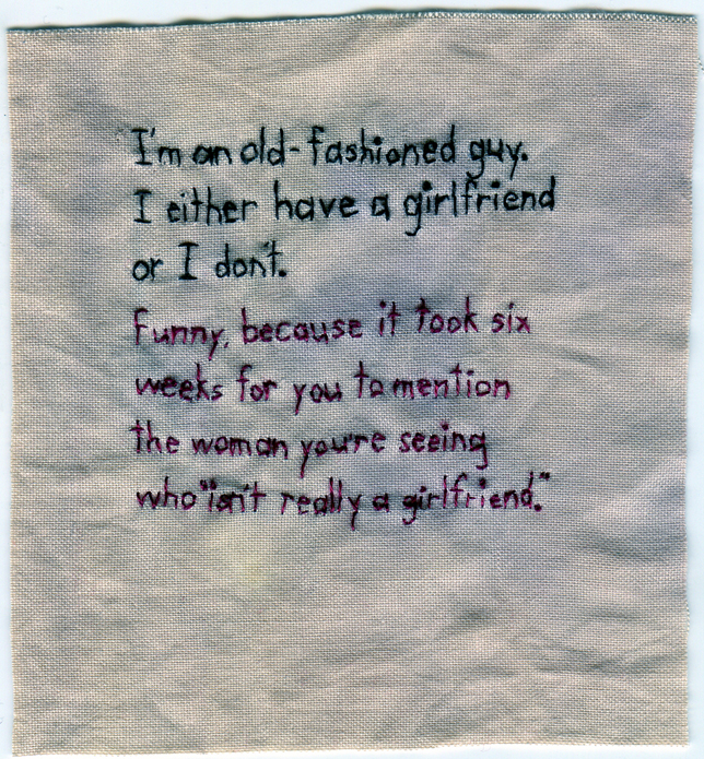 """Girlfriend."" 2012. Embroidery on fabric dyed with purple onion skin. 4.5"" x 4"""