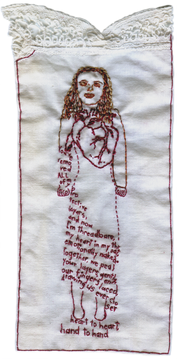 """Heart to Heart, Hand to Hand."" 2012. Embroidery on fabric. 7.75"" x 3.25""."