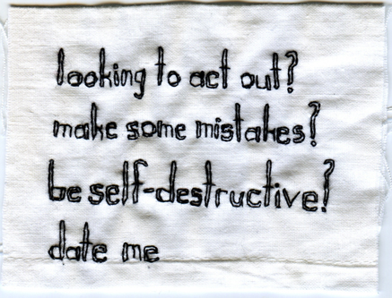 "@spencermadsen #dateme. Text provided by @spencermadsen. 2013. Embroidery on fabric. 3.25"" x 4"". $250"