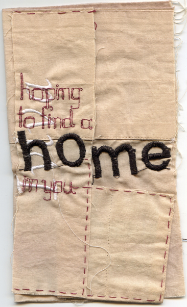 """Some of My Requirements..."" 2013. Embroidery on fabric in ""book"" form. On view via the Codex Book Arts Fair in California via the Center for Book Arts, NYC."