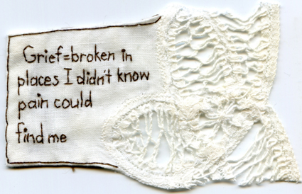 """Grief."" 2013. Embroidery on fabric. 2.75"" x 3.75"". Text by @EmbroideryPoems"