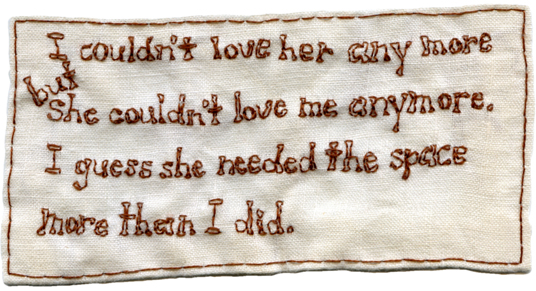 """Spelling Lesson."" Poem by Kevin Kinsella. 2013. Embroidery on fabric."