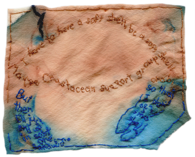 """Crustacean Support Group."" 2013. Embroidery and watercolor on silk. Text by friend and fellow artist for @EmbroideryPoems project."
