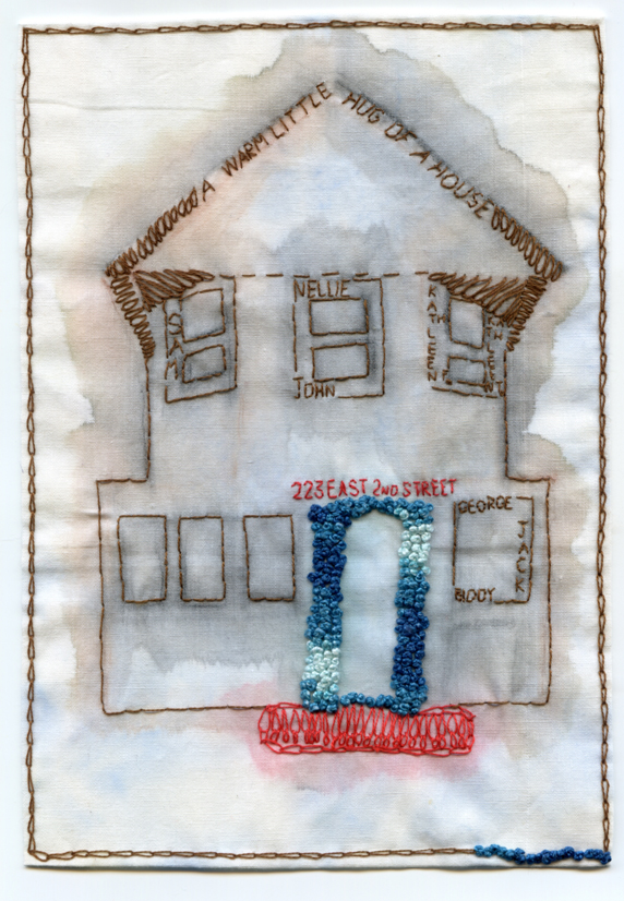 "In memoriam. This lovely house was taken down by Hurricane Sandy. A dear friend, also an artist and curator, asked me to make this piece as a tribute to the memories and love the house hosted.  Embroidery and watercolor on fabric. 2013.  Approximately 5.75"" x 8.25""."