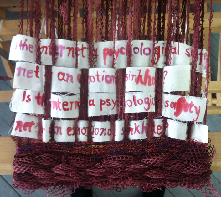 """I the internet a psychological safety net, or an emotional sinkhole?"" Paint on muslin woven into netted fabric. 2013."