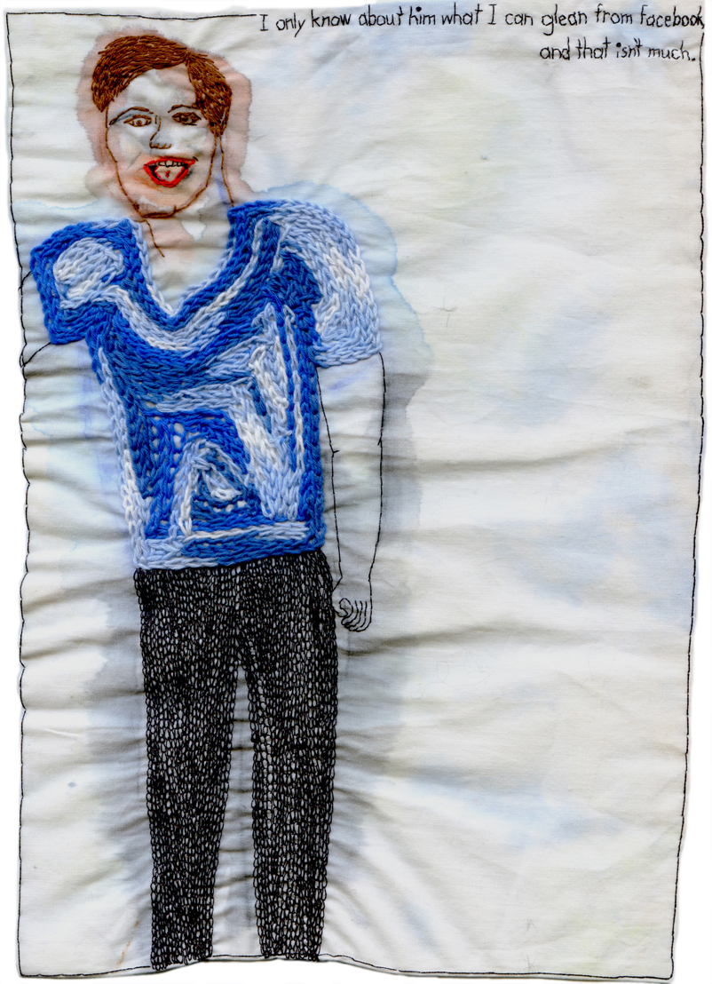 """What I can glean from Facebook."" 2013. Embroidery and watercolor on fabric. 10.75"" x 7.5"". $700"