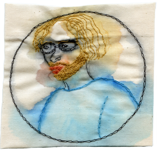 """My Baby Needs a Shave."" 2013. Embroidery and watercolor on fabric, inspired by my Facebook and Instagram feeds. 4.5"" x 4.75"". $400"