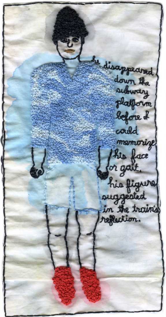 """Subway Blues."" 2013. Embroidery and watercolor. 10.75"" x 5.25""."