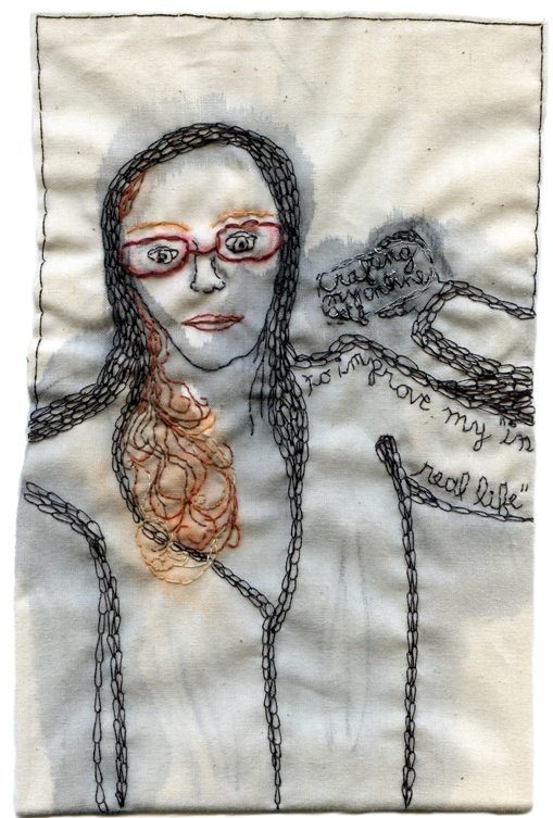 """IRL/URL."" Embroidery and watercolor selfie on fabric. 2013. $400. 7.5"" x 4.5"""