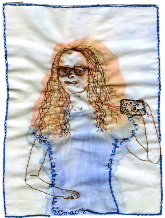 """Selfie aka Love in the iPhone Era."" 2013. Embroidery and watercolor on fabric. 6.75"" x 4.75"". $400."