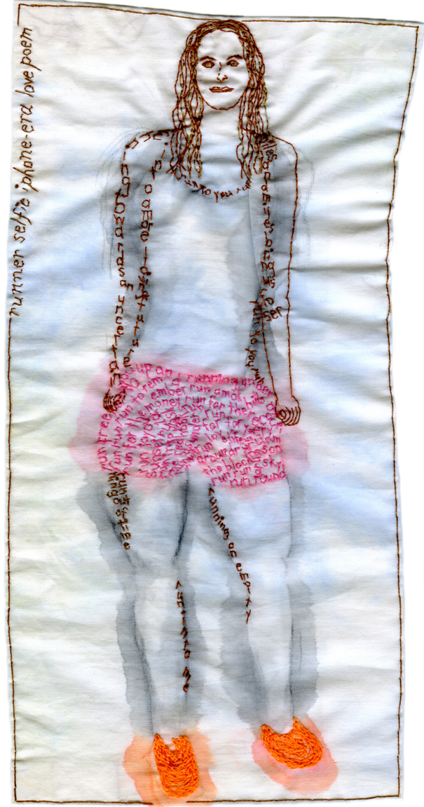 """Run to Me."" 2013. Embroidery and watercolor on fabric. 11"" x 5.5"". $600"