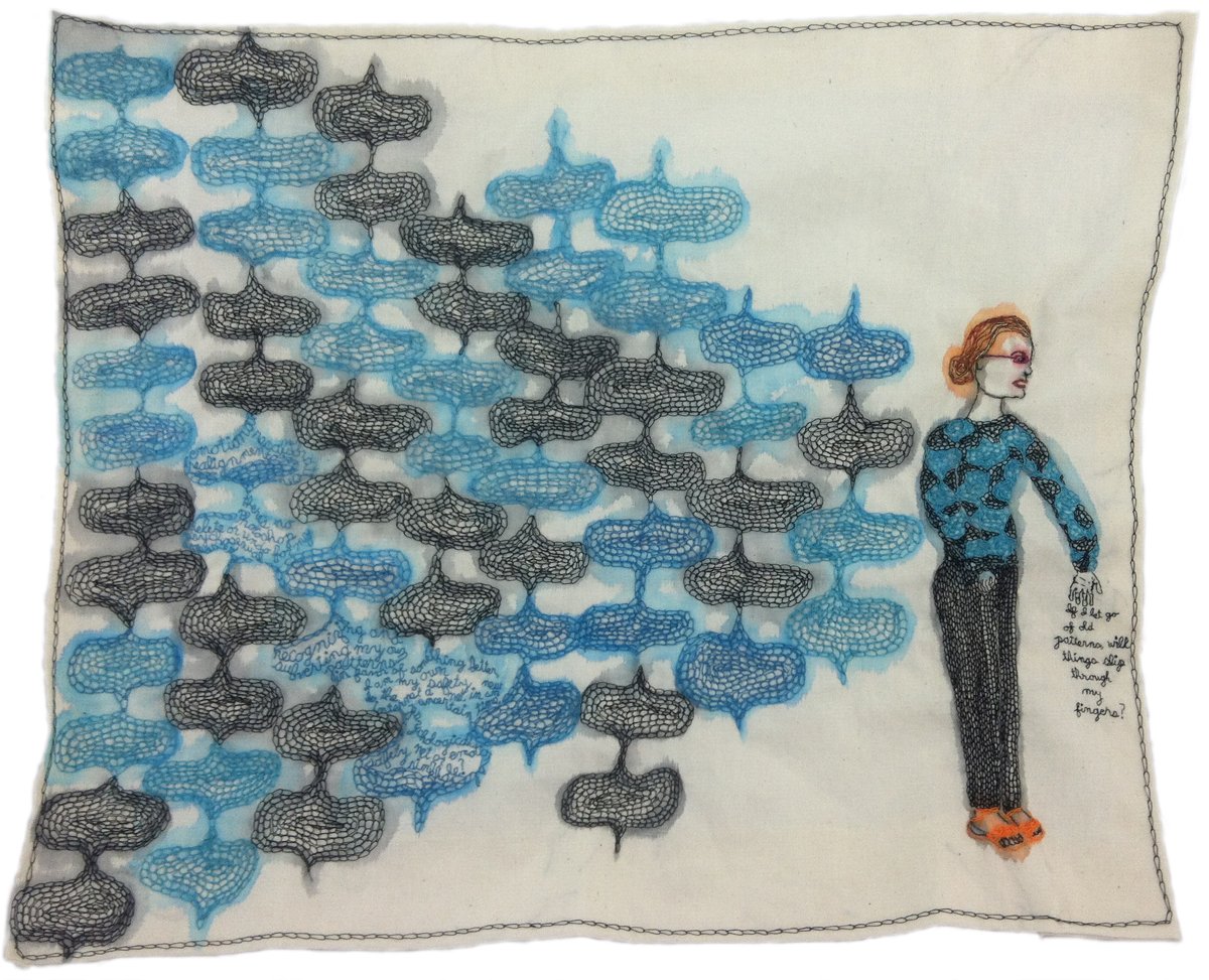 """Subverting the Pattern."" 2013. Embroidery and watercolor on fabric. 15.25"" x 18.5""."