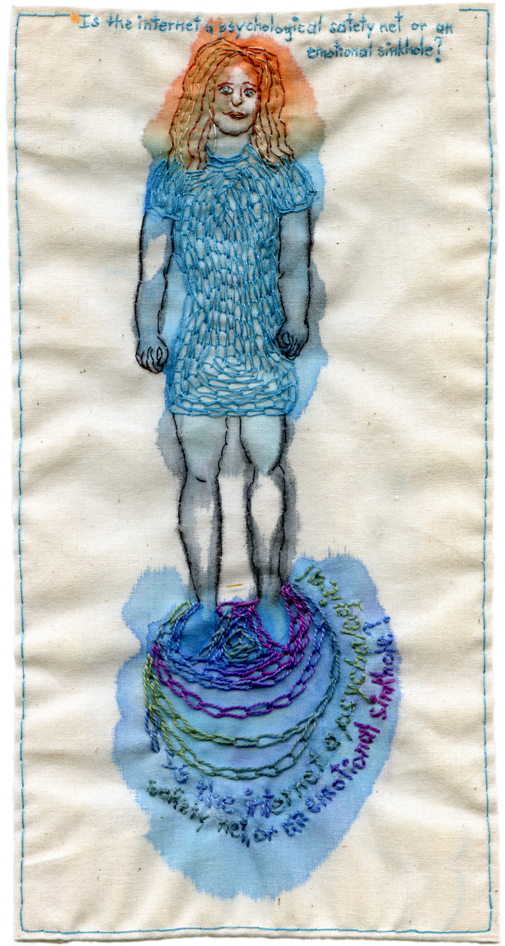 """Safety Net or Emotional Sinkhole."" 2013. Embroidery and watercolor on fabric. 9.25"" x 4.75""."