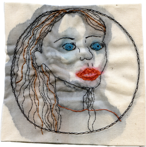 """Starry Eyed."" 2013. Embroidery and watercolor on fabric. 4.5"" x 4.5"". $400"