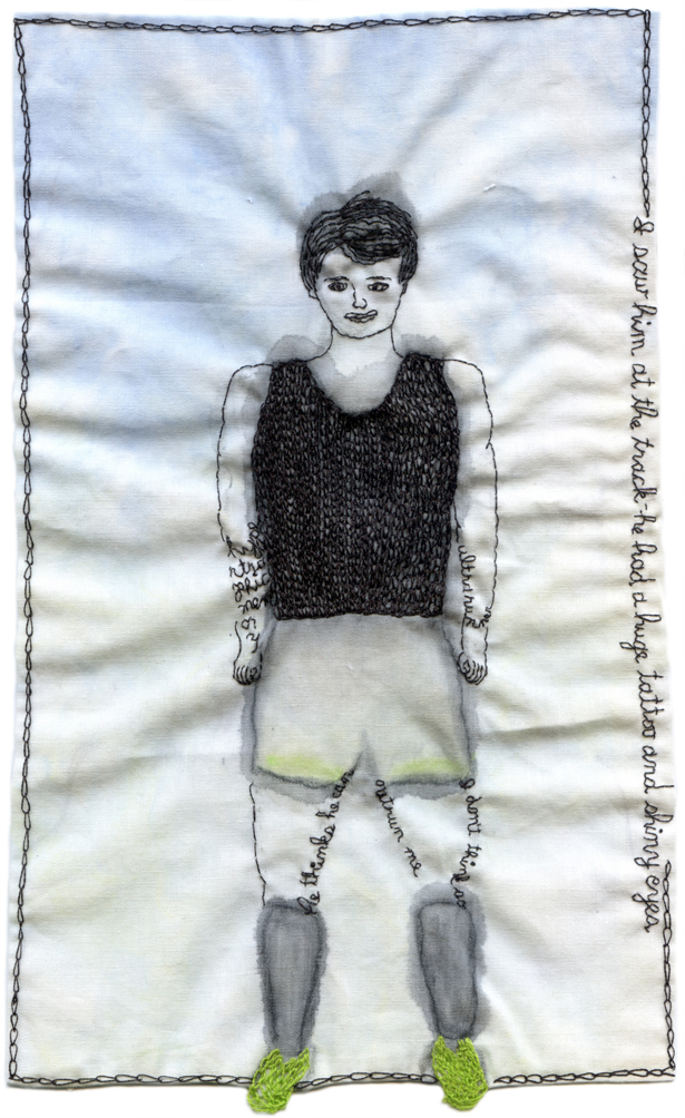 """Ultra Runner."" 2013. Embroidery and watercolor on fabric. 10"" x 5.75"" $600"