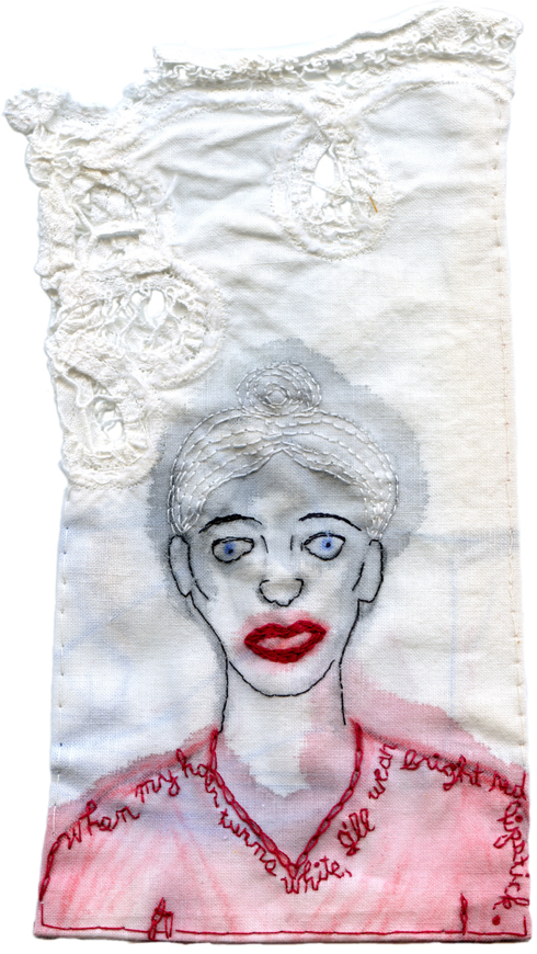 """White Hair."" Embroidery and watercolor. 2013. 8.5"" x 4.5"". $400."