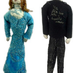 """""""Stitching Myself Together/ To fall in love with a beautiful woman."""" 2013. Sculptures with fabric, paint, stiffener, stuffing, metal stands. Female figure: 9.5"""" x 3"""" x 2.5"""". Male figure: 11"""" x 3"""" x 1.5""""."""