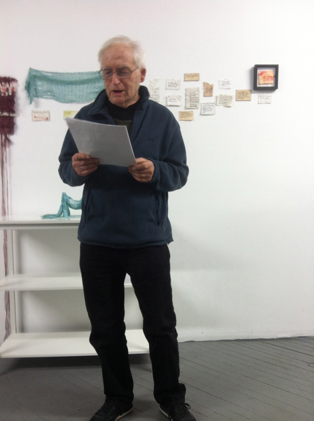 Monte Olenick aka Dad reading at Weaving Hand stdio in honor of @EmbroideryPoems and Weaving Hand artist residency. Thanks BAC and Cynthia Alberto for sponsoring me and my work.