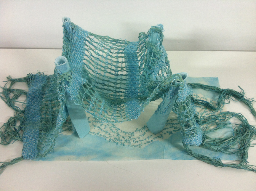 """""""Woven Poetry Bridge."""" 2013. Embroidery, hand weaving, painting and fabric manipulation. Piece made for Weaving Hand residency and @EmbroideryPoems project."""