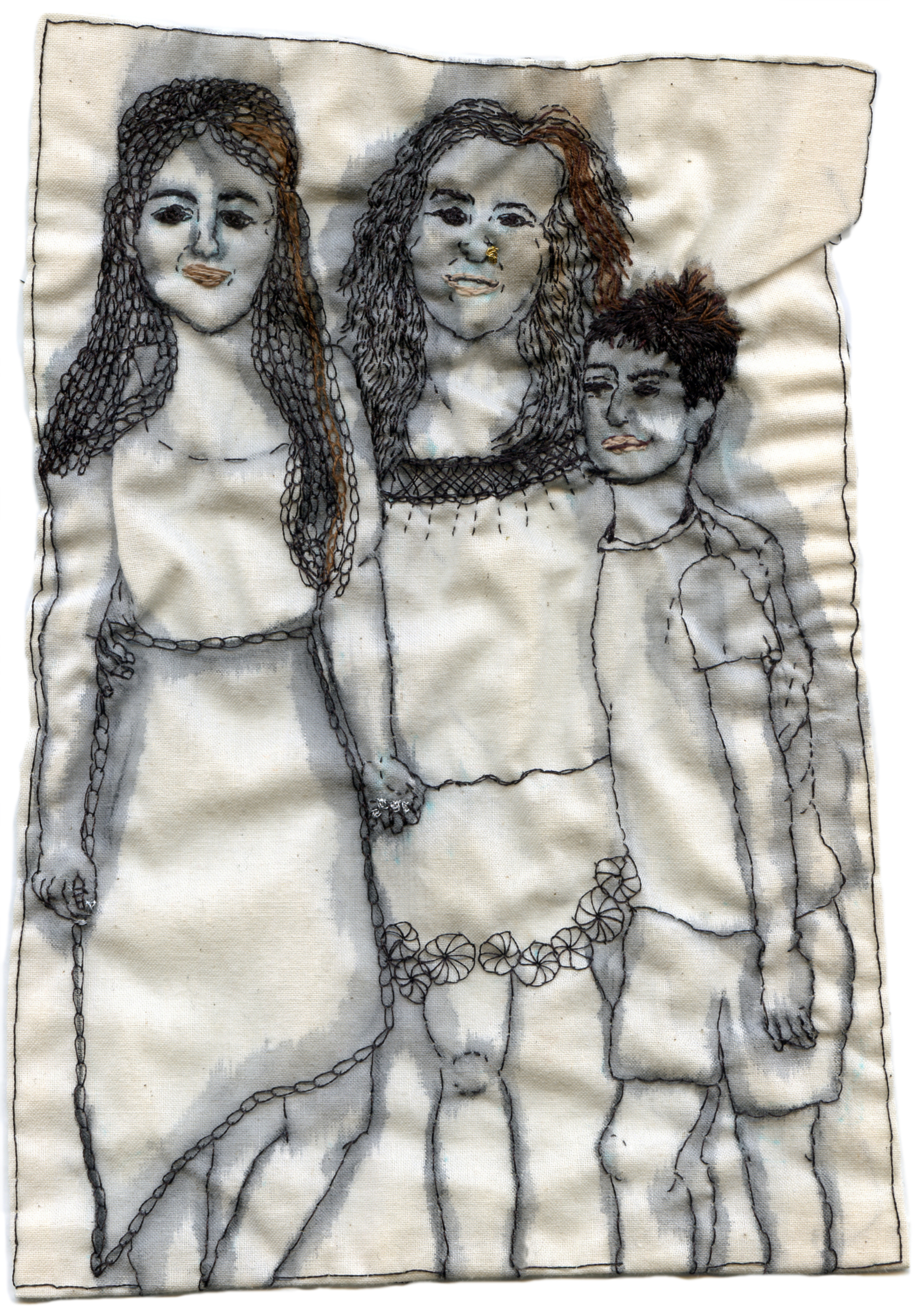"""Cynthia, Kaya, Marcus."" Embroidery and watercolor on fabric. Custom piece for Cynthia Alberto, Weaving Hand director and founder. 2013. 8.5"" x 5.5"" x 0.25"""